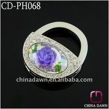 2012 fashion handbag holder with 3D purple flower CD-PH068