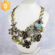 2015 crystal statement necklace zinc alloy hawaiian flower necklace with Dragonfly and spider N0068