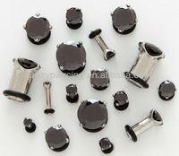 prong set jett black CZ 316L stainless steel body ear piercing plug stud jewelry