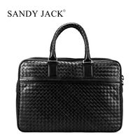 Italy famous Brand knitted sheep leather Messager Laptop handbags men business handbag in light calf material