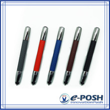 high quality color leather mini touch screen metal business gift ball pen with stylus