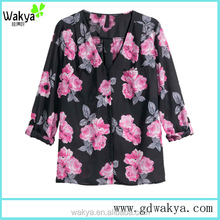 2016 hot selling women floral print blouse, ladies casual tops