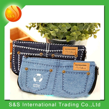 multifunctional fashion jeans pencil case for girl and cosmetic bag