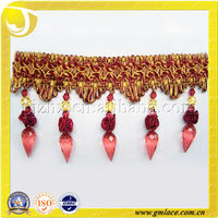 beautiful red curtain tassel trim fringe lace for curtains with acylic beads