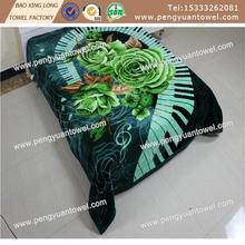 100% polyester printed raschel double blanket with 1 side carved