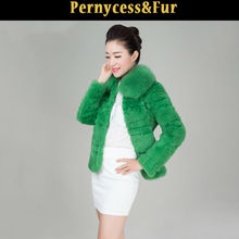 2014 latest new style super rabbit fur with fox fur coat