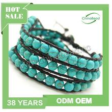 Top quality gemstone bracelet, gemstone wrap beaded bracelets, round blue howlite beads wrap with 1.5mm black leather cord