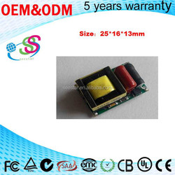 Dimmable Small Size 25*16*13 3-5W led driver open frame constant current power supply for bulb light without certificate