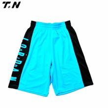 oem unique light blue reversible basketball short top quality