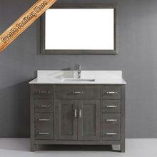 48 inch single sink Stain Grey bathroom vanity with quartz top