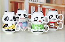 lovely cartoon cocoa bear model big head two-piece set ceramic mug,fashion pande water cup