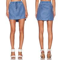 2015 Fashion Women Washed Denim Blue Mini Skirts Elastic Waist Long Back Skirt for Wholesale Haoduoyi
