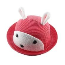 custom children kids baby rabbit pattern animal plain Panama paper straw beach sun hat party hat