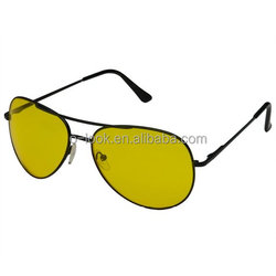 Men's Metal Frame Aviators Sunglasses HD Yellow Lens High Contrast