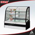 Compacto diseño de la torta de pantalla nevera/curvo de vidrio refrigerador pantalla/contra el refrigerador vitrina