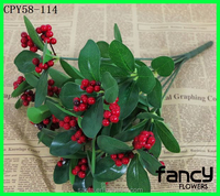 Factory direct sale 8 branches artificial berries decorative fake berries for sale red artificial berries