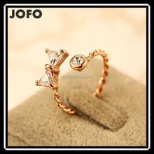 2015 New Trendy Mirco Insert Zircon Ring Real Golden Plated Bowknot Open Ring
