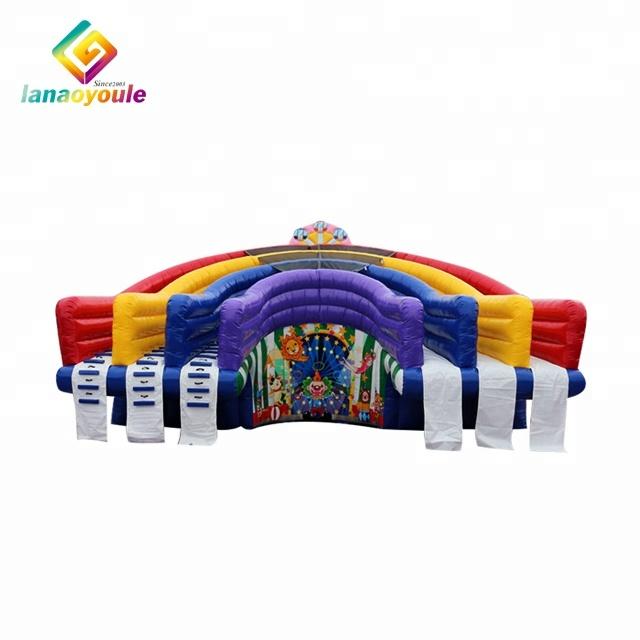 LANAO vendita calda all'aperto gioco di sport arcobaleno bouncer gonfiabile banzai scorrevole di acqua gonfiabile