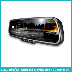 Car Android system GPS Navigation +WIFI car rear view mirror with bluetooth and dual way recording