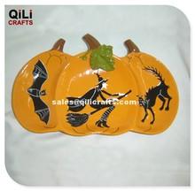 Halloween Decor Ceramic Pumpkin With Bat Witch Cat Decor