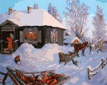 abstract oil painting on canvas GX6615 paint by number snow village landscape painting