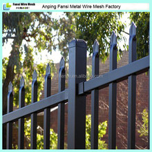Powder coated black spear top security tubular gal steel fence panel