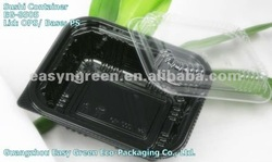Small Black Plastic Sushi Container with Lids EG-8505