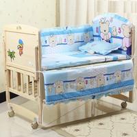 2015 new wholesale boy girl kids cartoon queen european patchwork embroidery sunflower crib baby bedding set
