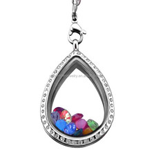 SRP6045 Fashion Jewellery Tear Drop Living Locket Rhinestone Inlay Locket Surgical Stainless Steel Pendant
