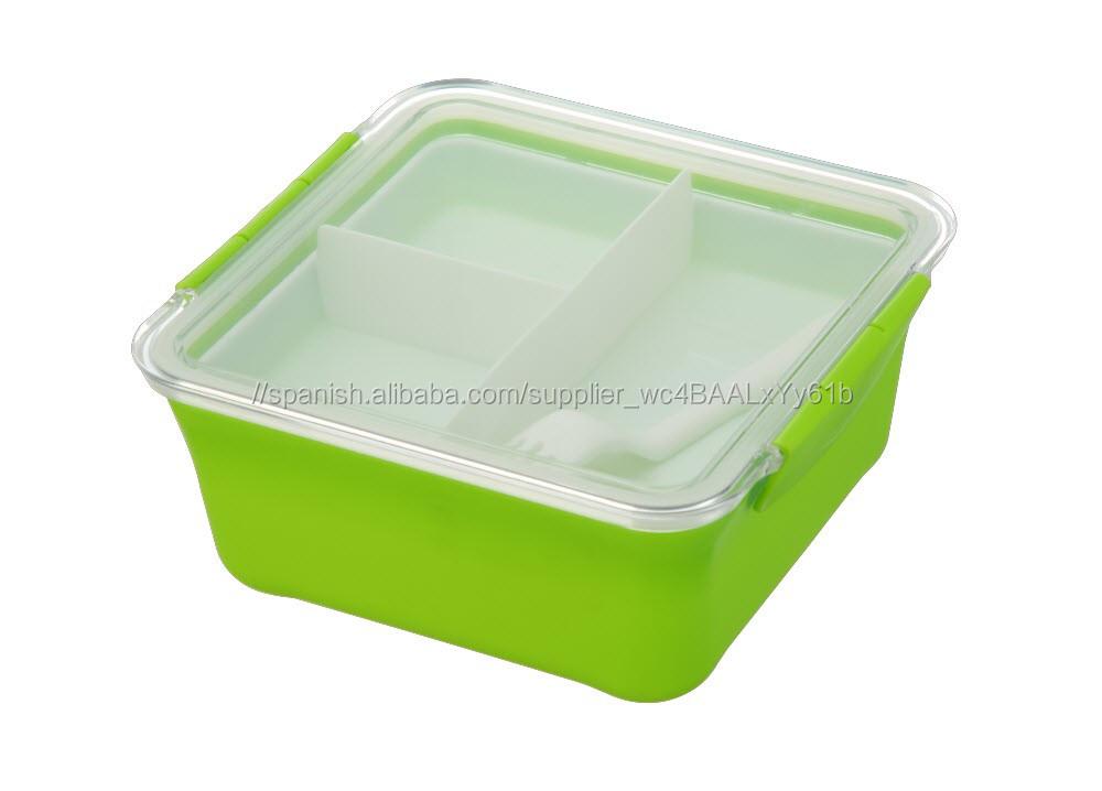 Cuadrados De Plástico Hermético de Alimentos Cajas De Almacenamiento 4 Compartimentos Lunch Box con Tenedor