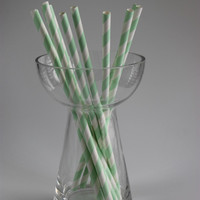 Light green striped paper straws manufactured in YIWU city