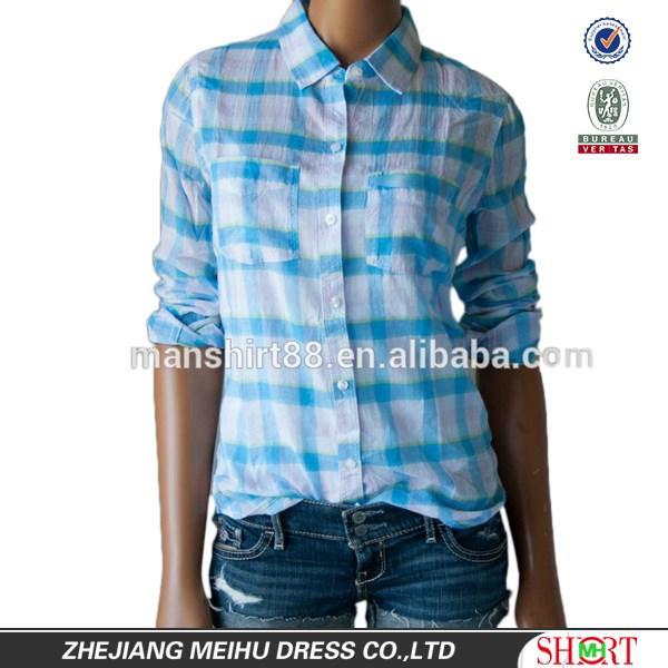 Summer light blue plaid button down casual shirt for lady for Lightweight plaid shirt womens
