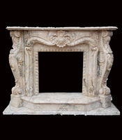 Hand carved elegant mythical marble decorative fireplace surround