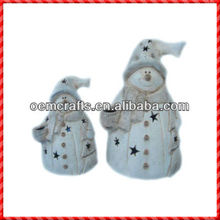 Set 2 lovely ceramic christmas decorative snowman