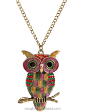 Fashion Jewelry Long necklace Owl Pendant Enamel Colorful