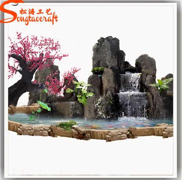 Artificial Fiber Glass Indoor Artificial Waterfall Fountain Customized Size View Mini Waterfall