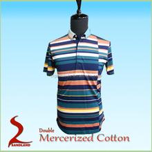 Men's Plain Color Double Mercerized cotton short sleeve Polo Shirts