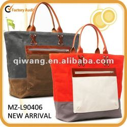 natural canvas bag with leather trim 2013 new style