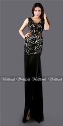 long lace evening dress black mermaid sexy backless bateau floor length long evening gown