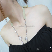 women accessories high quality sparking flower bra straps - Crystal