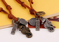 Adjustable cow pendant New trend mens leather necklace sea horse necklaces