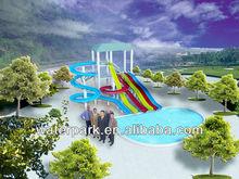 Open Spiral Freefall Wavy Style Fiberglass Water 6 Slides, Body Slide Equipment 8.28m&4.68m Height