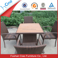 Leisure garden furniture hot sale square teak wood table armrest chairs