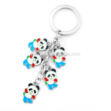 Promotional Cheap Cute panda Keychain with Colorful Hard Enamel Painting