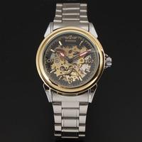 Роскошные заклепки деко стали случае скелет часы Мужские автоматические часы механические черный сплава группы наручные часы