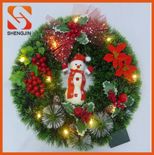 SJ-6579 New christmas decorative gifts Handmade flash lighted red bow pine garland Xmas Wreath