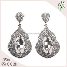 Handmade Earring Plated Silver Calabash Shape With Big Rhinestone Alloy Earring For Sex Lady
