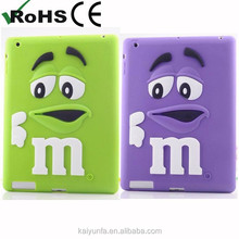 Hot selling m&m's rainbow bean silicone case for ipad mini accessories