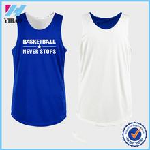 Yihao 2015 hot selling custom 100% polyester unisex cheap reversible basketball jerseys wholesale sports training clothing