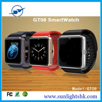 New Hot Sale !Bluetooth Smart Watch GT08 With SIM Card TF Card Camera 0.3MP dual sim card 4g watch mobile phone